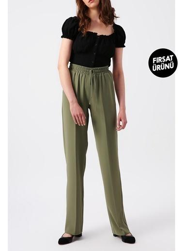 Random Kadın Beli Lastikli Bol Kesimli Pantolon Haki